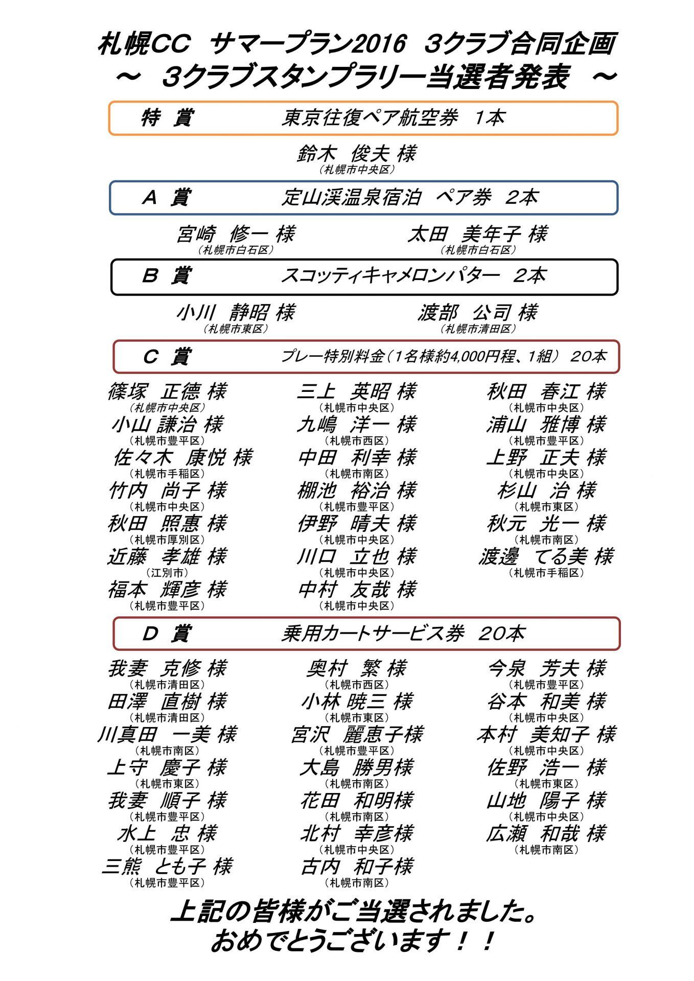 ■10/20UP サマープラン2016 3クラブスタンプラリー当選者発表!