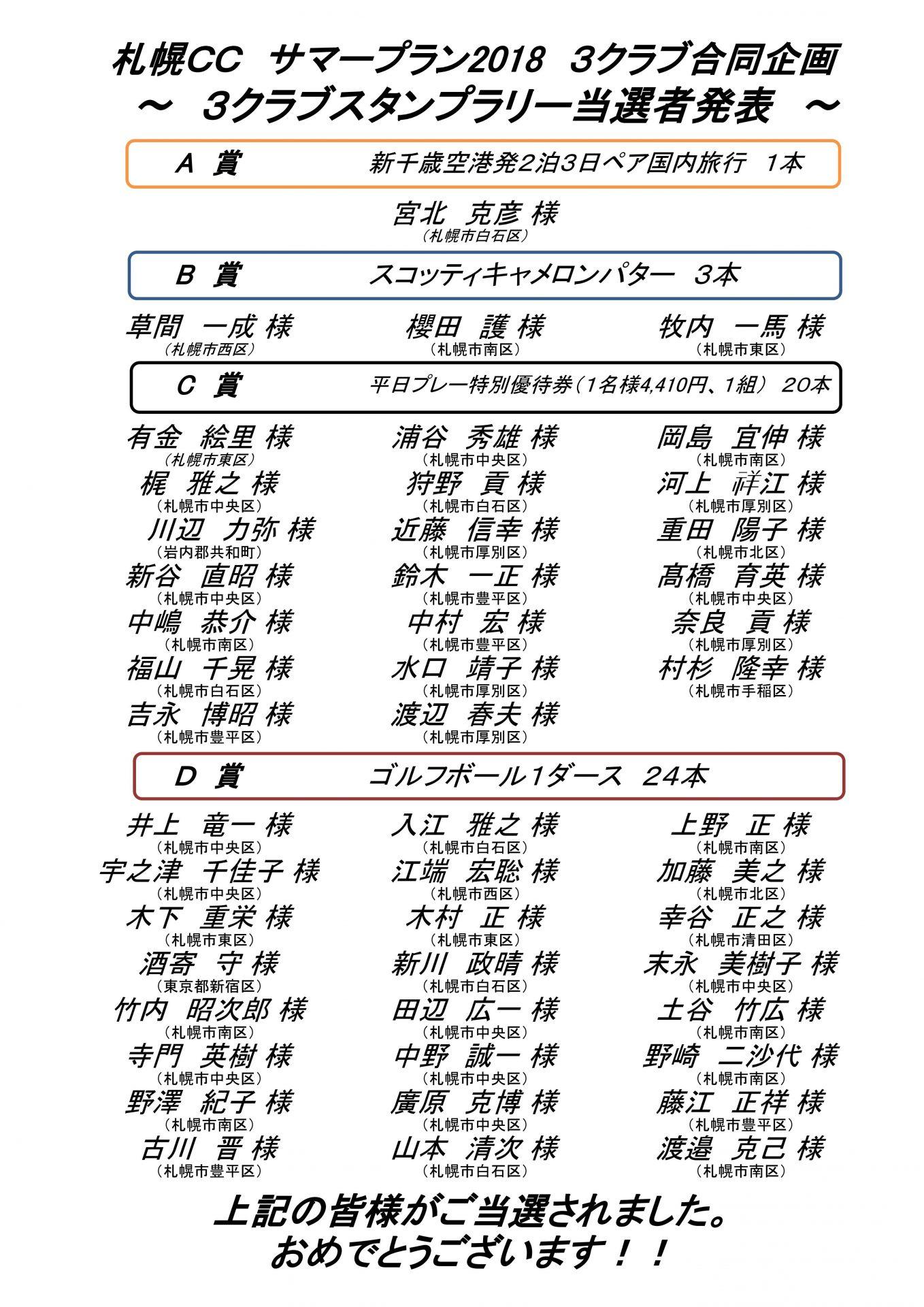 ■11/20UP サマープラン2018 3クラブスタンプラリー当選者発表!