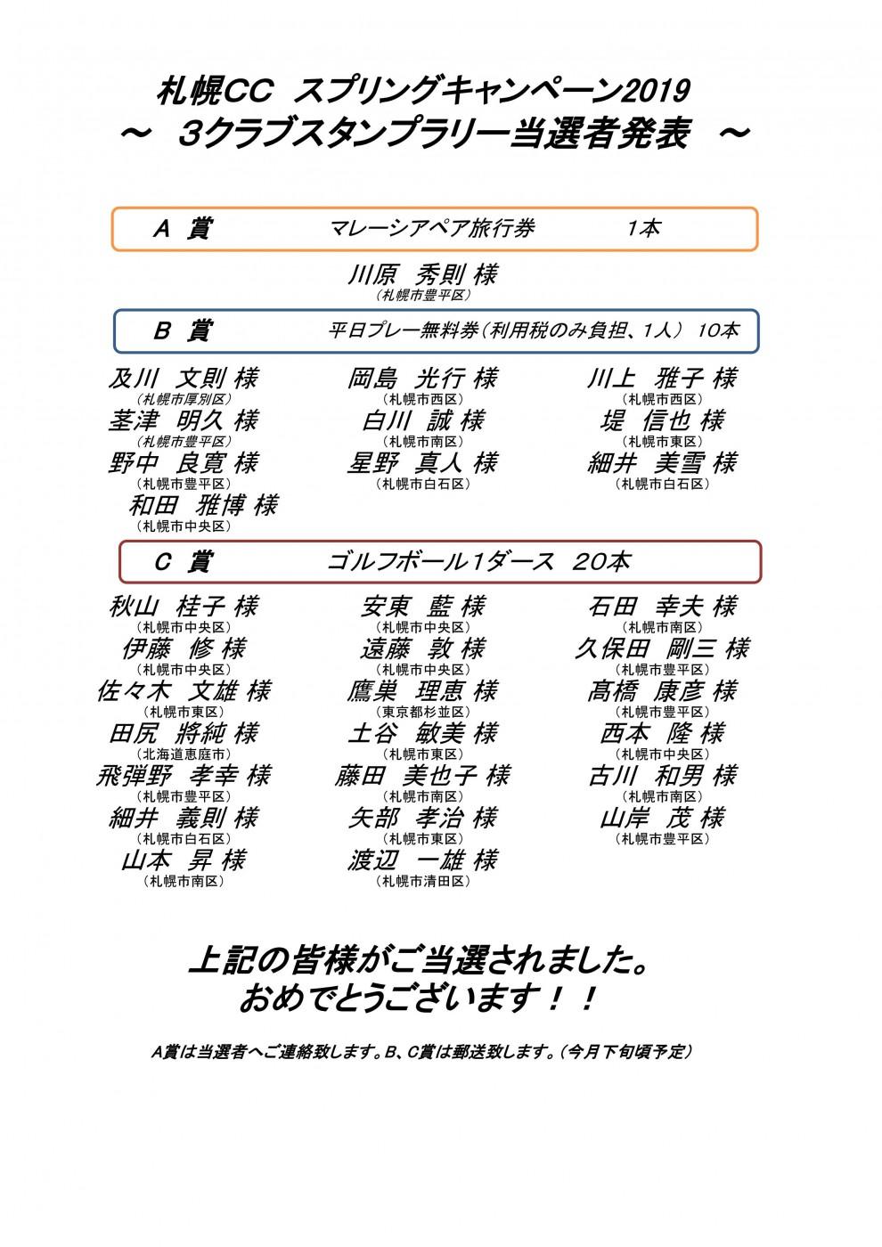 ■8/13UP スプリングキャンペーン2019 3クラブスタンプラリー当選者発表!