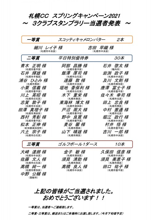 ■8/24UP スプリングキャンペーン2021 3クラブスタンプラリー当選者発表!