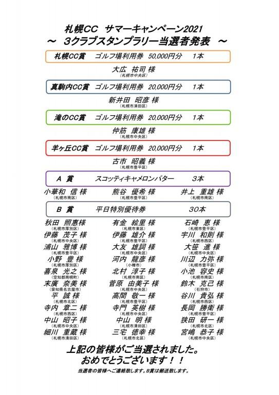 ■10/8UP サマーキャンペーン2021 3クラブスタンプラリー当選者発表!